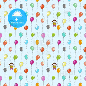 seamless pattern of balloons on light blue - HEBSTREITS