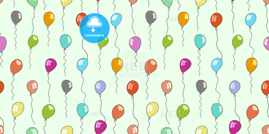 seamless pattern of sketched balloons on green - HEBSTREITS
