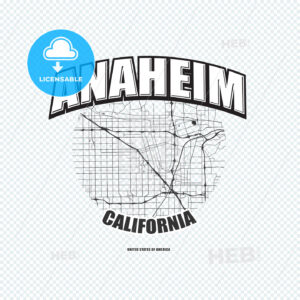 Anaheim, California, logo artwork - HEBSTREITS