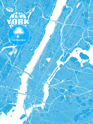 Blue map of New York City with Apple Logo - HEBSTREITS