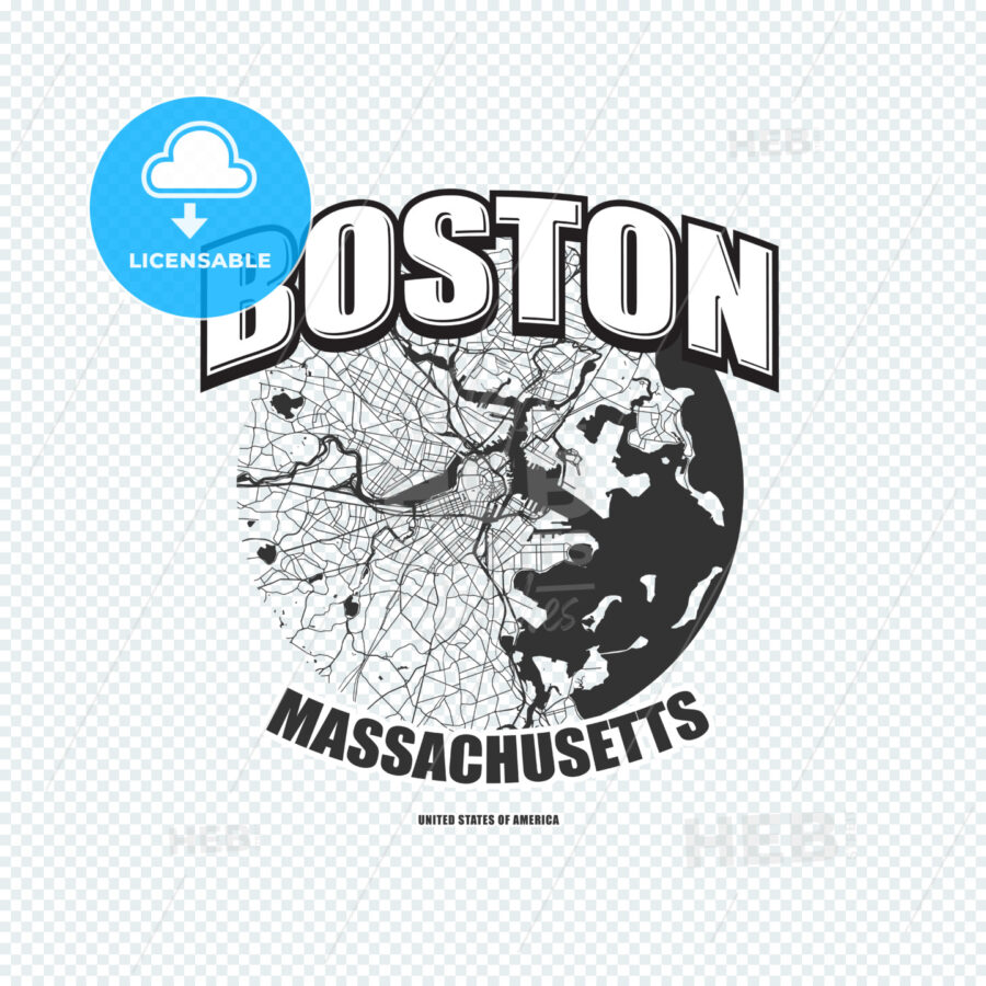 Boston, Massachusetts, logo artwork - HEBSTREITS