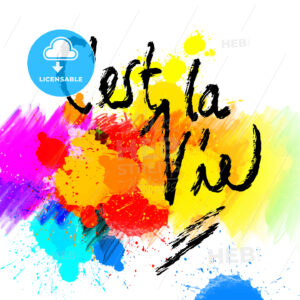 C'est la vie. lettering on colorful backgound - HEBSTREITS
