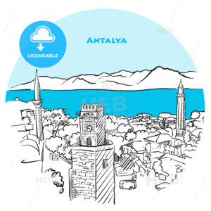 Antalya two toned drawing - HEBSTREITS