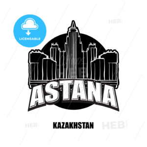 Astana, Kazakhstan, black and white logo - HEBSTREITS