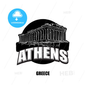 Athens, temple, black and white logo - HEBSTREITS