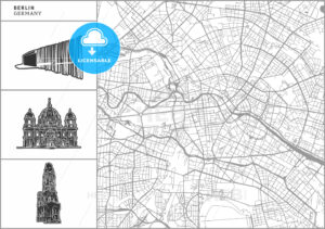 Berlin city map with hand-drawn architecture icons - HEBSTREITS