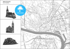 Bratislava city map with hand-drawn architecture icons - HEBSTREITS