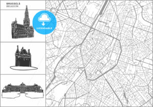 Brussels city map with hand-drawn architecture icons - HEBSTREITS