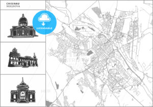 Chisinau city map with hand-drawn architecture icons - HEBSTREITS