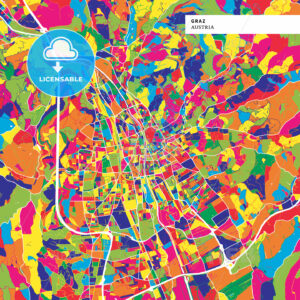 Colorful map of Graz, Austria - HEBSTREITS
