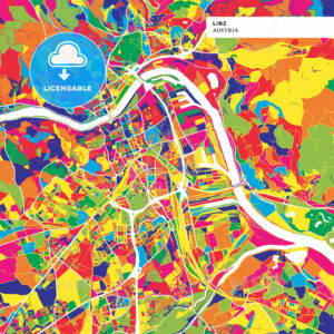 Colorful map of Linz, Austria - HEBSTREITS