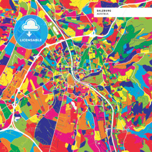 Colorful map of Salzburg, Austria - HEBSTREITS
