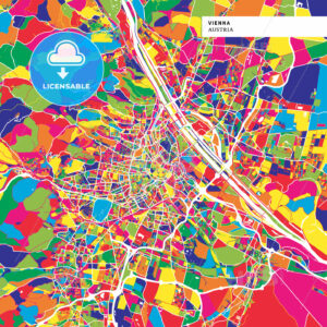 Colorful map of Vienna, Austria - HEBSTREITS
