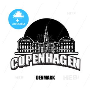 Copenhagen, Denmark, black and white logo - HEBSTREITS