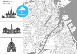 Copenhagen city map with hand-drawn architecture icons