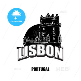Lisbon, tower, black and white logo