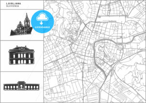 Ljubljana city map with hand-drawn architecture icons - HEBSTREITS