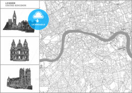 London city map with hand-drawn architecture icons