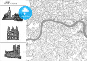 London city map with hand-drawn architecture icons - HEBSTREITS