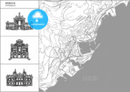 Monaco city map with hand-drawn architecture icons