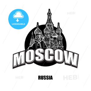 Moscow, cathedral, black and white logo - HEBSTREITS