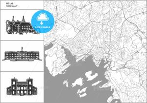 Oslo city map with hand-drawn architecture icons - HEBSTREITS