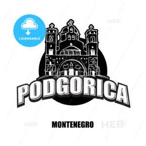 Podgorica, Montenegro, black and white logo - HEBSTREITS