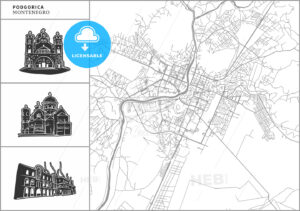 Podgorica city map with hand-drawn architecture icons - HEBSTREITS