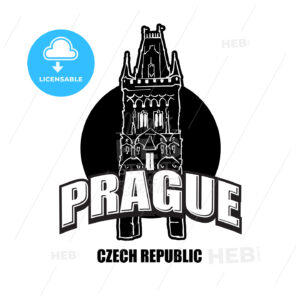 Prague, Czech Republic, black and white logo - HEBSTREITS
