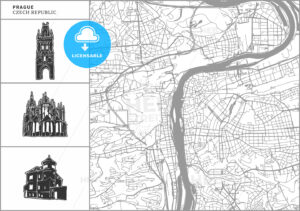 Prague city map with hand-drawn architecture icons - HEBSTREITS