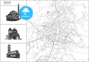 Pristina city map with hand-drawn architecture icons - HEBSTREITS
