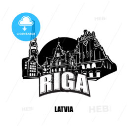 Riga, Lativa, black and white logo