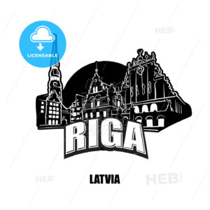 Riga, Lativa, black and white logo - HEBSTREITS
