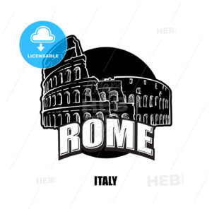 Rome, Italy, black and white logo - HEBSTREITS