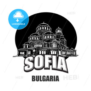 Sofia, Bulgaria, black and white logo - HEBSTREITS