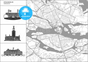 Stockholm city map with hand-drawn architecture icons - HEBSTREITS