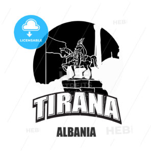 Tirana, Albania black and white logo - HEBSTREITS