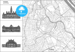 Vienna city map with hand-drawn architecture icons