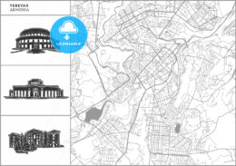 Yerevan city map with hand-drawn architecture icons