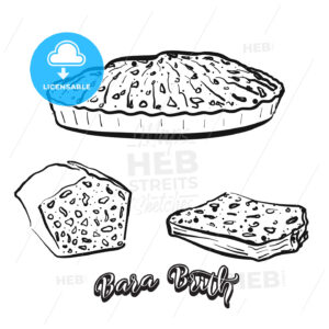 Hand drawn sketch of Bara Brith bread - HEBSTREITS