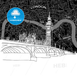 London skyline with map