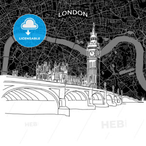 London skyline with map - HEBSTREITS