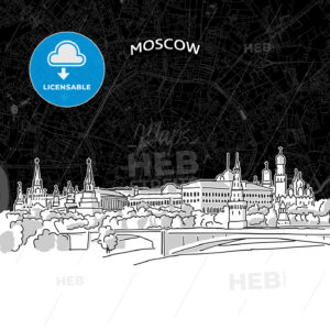 Moscow skyline with map - HEBSTREITS