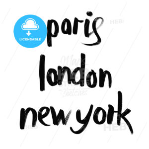 Paris, London, New York lettering - HEBSTREITS