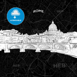 Rome skyline with map