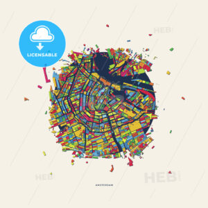 Amsterdam Netherlands colorful confetti map - HEBSTREITS