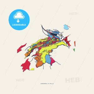 Andorra la Vella Andorra colorful confetti map - HEBSTREITS
