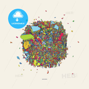 Ankara Turkey colorful confetti map - HEBSTREITS