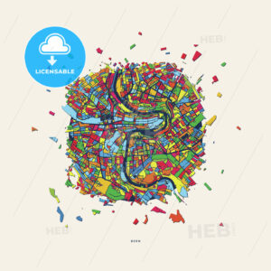 Bern Switzerland colorful confetti map - HEBSTREITS
