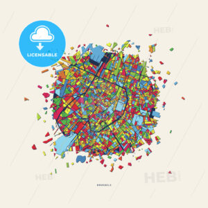 Brussels Belgium colorful confetti map - HEBSTREITS
